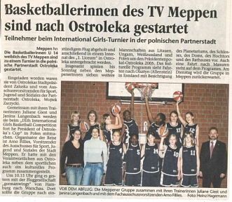 Pressebericht MT - Meppener Basketballerinnen in Ostroleka